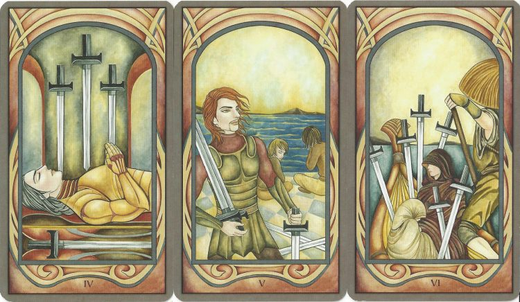 Four, Five, and Six of Swords from the Fenestra Tarot. Find more about the Tarot Swords in love readings at TarotinLove.com.