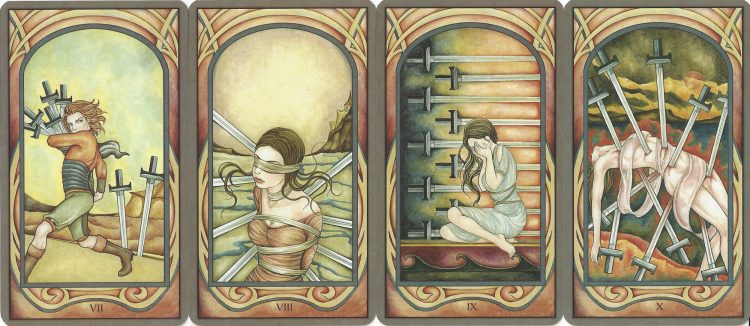 Seven, Eight, Nine, and Ten of Swords from the Fenestra Tarot. Find more about the Tarot Swords in love readings at TarotinLove.com.