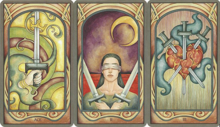 Ace, Two, and Three of Swords from the Fenestra Tarot. Find more about the Tarot Suit of Swords in love readings at TarotinLove.com.