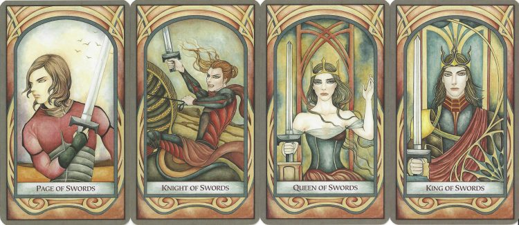 Page, Knight, Queen, and King of Swords from the Fenestra Tarot. Find more about the Tarot Suit of Swords in love readings at TarotinLove.com.