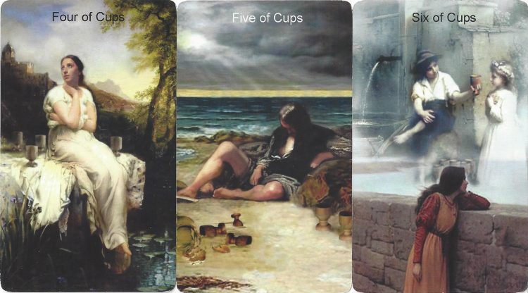 Four, Five, and Six of Cups from the Infinite Visions Tarot. Find more about the tarot Cups in love readings at TarotinLove.com.