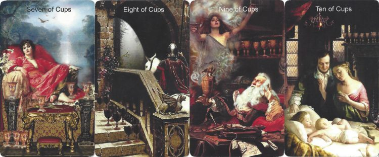 Seven, Eight, Nine, and Ten of Cups from the Infinite Visions Tarot. Find more about the tarot Cups in love readings at TarotinLove.com.