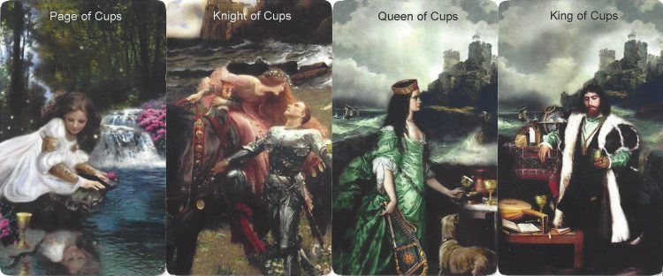 Page, Knight, Queen, and King of Cups from the Infinite Visions Tarot. Find more about the Tarot Suit of Cups in love readings at TarotinLove.com.