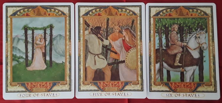 The Four, Five, and Six from the tarot Wands in love readings.