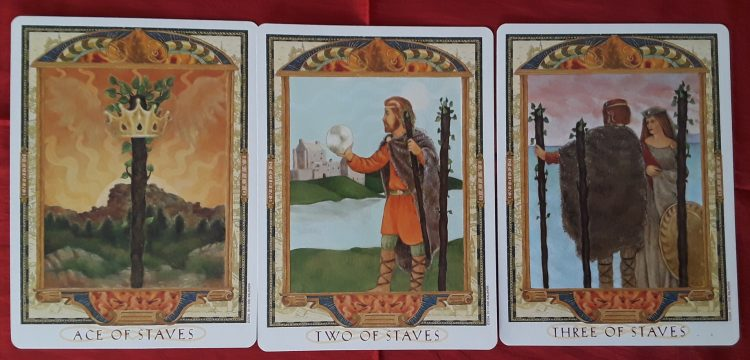 The Ace, Two, and Three from the tarot Wands in love readings.