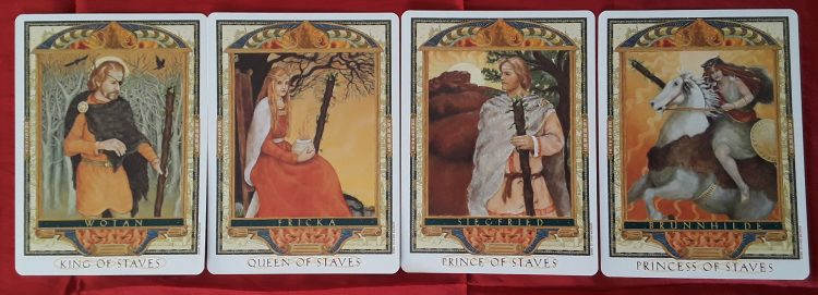 The King, Queen, Prince (Knight) and Princess (Page) from the tarot Wands in love readings.