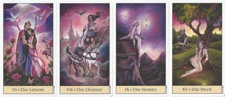 Major Arcana cards from the Crystal Visions Tarot.