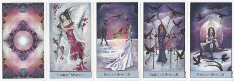 Suit of Swords cards from Crystal Visions Tarot.