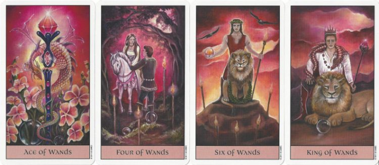 Wands cards from the Crystal Visions Tarot.