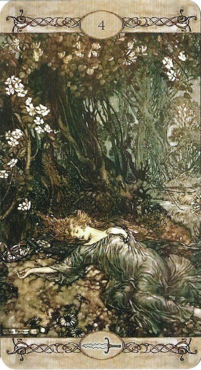 Four of Swords (Titania Sleeping) from Rackham Tarot - Review at TarotinLove.com.
