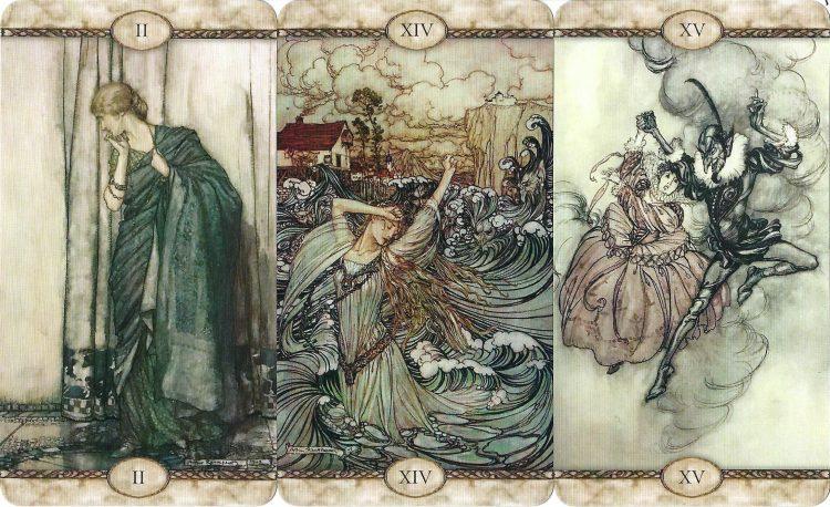 II The High Priestess, XIV Temperance, XV The Devil from Rackham Tarot - Review at TarotinLove.com.