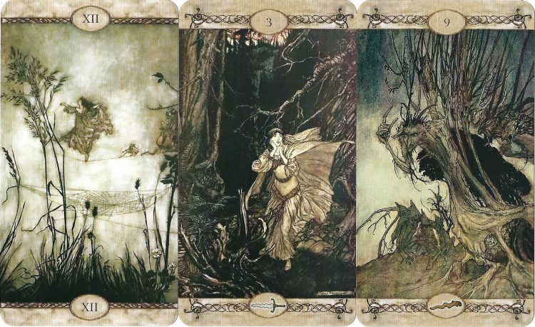 XII The Hanged Man, Three of Swords, Nine of Wands from Rackham Tarot - Review at TarotinLove.com.
