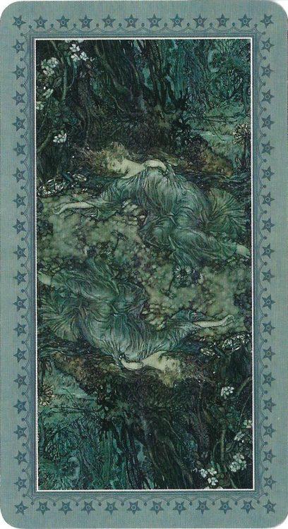 Card back: Four of Swords (Titania Sleeping) from Rackham Tarot - Review at TarotinLove.com.