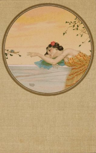 Woman with rose in her hair reaches out to a snail on a branch. May refer to the Aesop Fable, The Rose and the Snail.