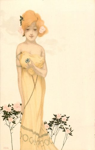 Art Nouveau image of woman in yellow dress contemplating snail shell. Pink roses in her hair and rose bushes at her feet.